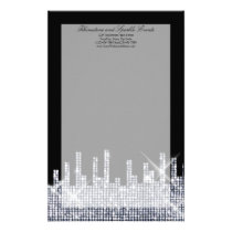 Glittery Black/Silver Glamour Personalized Stationery