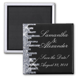 Glittery Black/Silver Glamour Save the Date Fridge Magnets