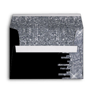 Glittery Black/Silver Glamour Wedding Envelope