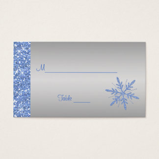 Glittery Blue and Silver Snowflakes Placecards Business Card