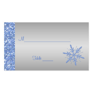 Glittery Blue and Silver Snowflakes Placecards Double-Sided Standard Business Cards (Pack Of 100)