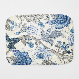 Glittery Blue Floral on Winter White Baby Burp Cloth