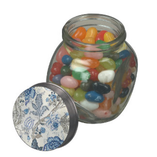 Glittery Blue Floral on Winter White Glass Jars
