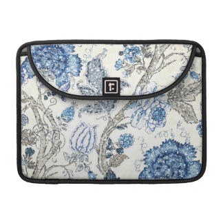 Glittery Blue Floral on Winter White MacBook Pro Sleeve