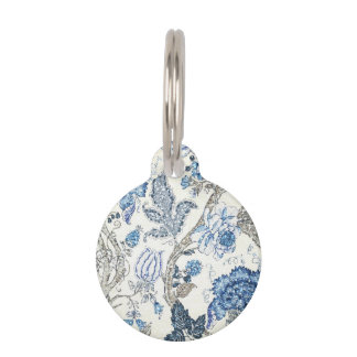 Glittery Blue Floral on Winter White Pet Tag