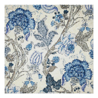 Glittery Blue Floral on Winter White Poster