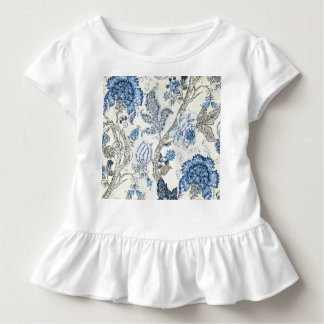 Glittery Blue Floral on Winter White Shirt