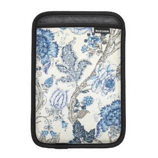 Glittery Blue Floral on Winter White Sleeve For iPad Mini