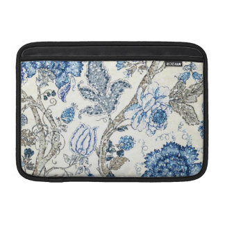 Glittery Blue Floral on Winter White Sleeve For MacBook Air