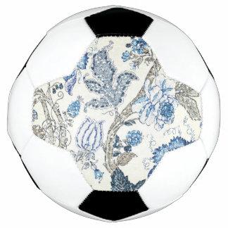 Glittery Blue Floral on Winter White Soccer Ball