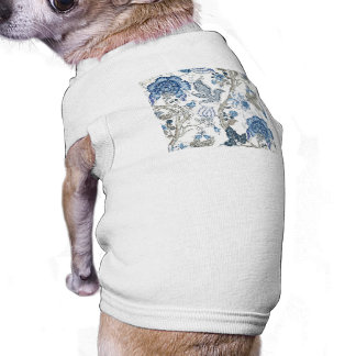 Glittery Blue Floral on Winter White T-Shirt