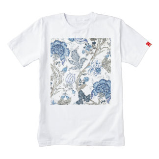 Glittery Blue Floral on Winter White Zazzle HEART T-Shirt