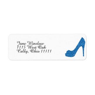 Glittery Blue High Heel Label