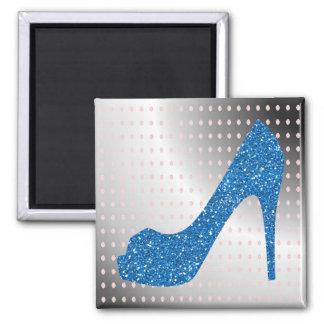 Glittery Blue High Heel Metallic Background 2 Inch Square Magnet