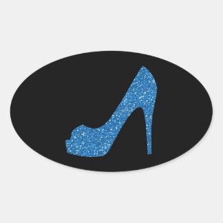 Glittery Blue High Heel Oval Sticker