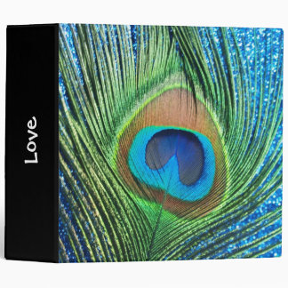 Glittery Blue Peacock Feather Still Life 3 Ring Binder