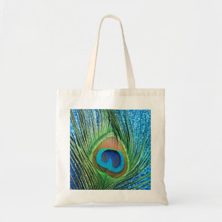 Glittery Blue Peacock Feather Still Life Budget Tote Bag