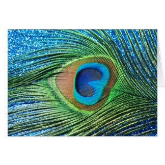 Glittery Blue Peacock Feather Still Life Card