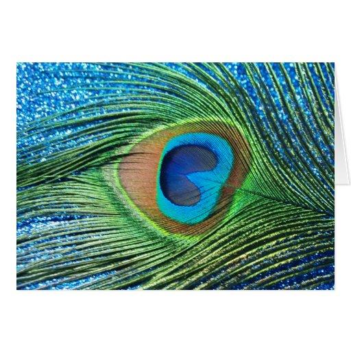 Glittery Blue Peacock Feather Still Life Card