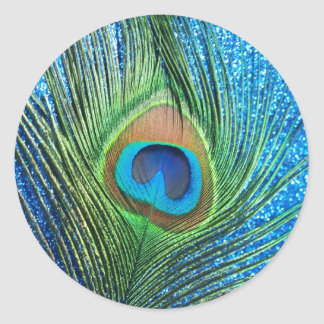 Glittery Blue Peacock Feather Still Life Classic Round Sticker