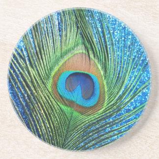 Glittery Blue Peacock Feather Still Life Coaster