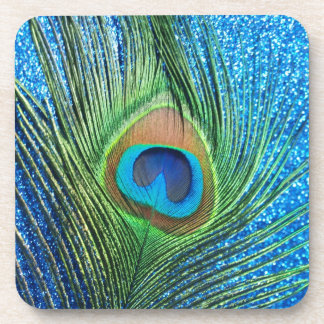 Glittery Blue Peacock Feather Still Life Beverage Coasters