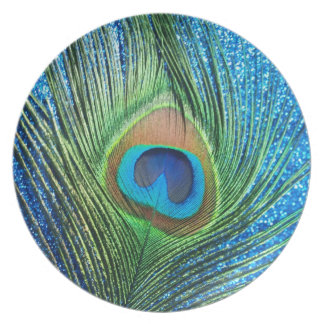 Glittery Blue Peacock Feather Still Life Dinner Plate