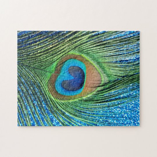 Glittery Blue Peacock Feather Still Life Jigsaw Puzzle