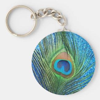 Glittery Blue Peacock Feather Still Life Keychain