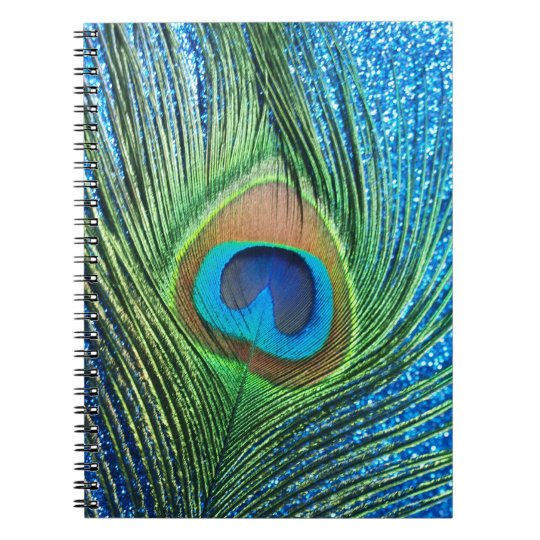Glittery Blue Peacock Feather Still Life Notebook