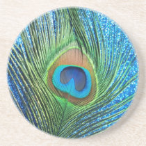 Glittery Blue Peacock Feather Still Life Sandstone Coaster