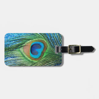 Glittery Blue Peacock Feather Still Life Travel Bag Tag