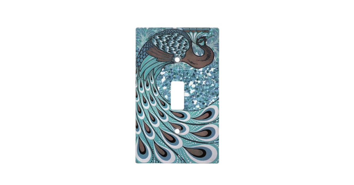 Glittery Blue Peacock Feathers Art Deco Light Switch Cover