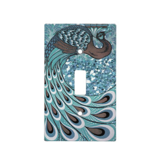 Glittery Blue Peacock Feathers Art Deco Light Switch Plates