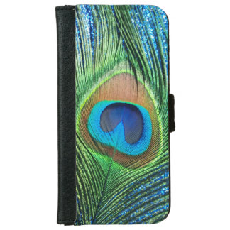 Glittery Blue Peacock iPhone 6/6s Wallet Case