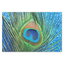 Glittery Blue Peacock Tissue Paper