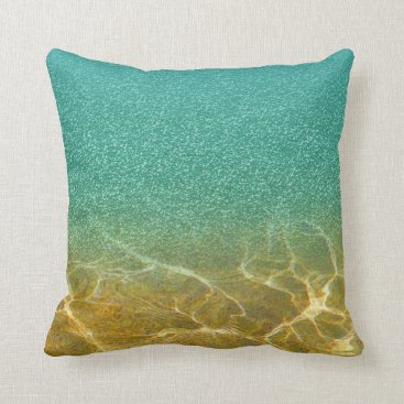 Beach Themed Glittery Blue Sea and Sand Pillow