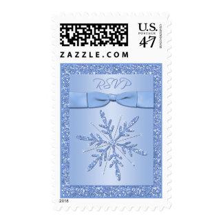 Glittery Blue Snowflake RSVP Postage