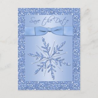 Glittery Blue Snowflake Save the Date Postcard postcard
