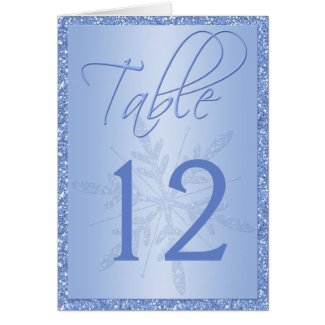 Glittery Blue Snowflake Table Number Card card