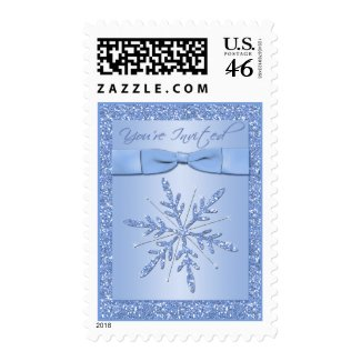 Glittery Blue Snowflake Wedding Postage stamp