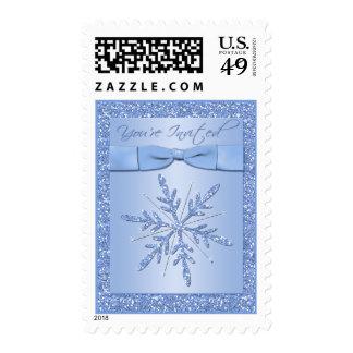 Glittery Blue Snowflake Wedding Postage