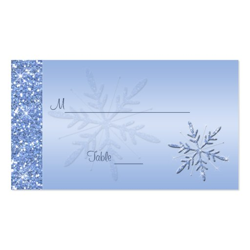 Glittery Blue Snowflakes Placecards Business Card