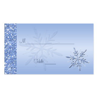 Glittery Blue Snowflakes Placecards Double-Sided Standard Business Cards (Pack Of 100)