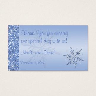 Glittery Blue Snowflakes Wedding Favor Tag