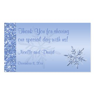 Glittery Blue Snowflakes Wedding Favor Tag profilecard