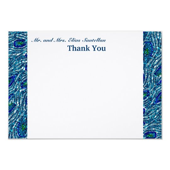 Glittery Blue Spangle Peacock Flat Thank You Notes Card