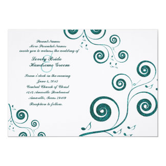 "Glittery Blue Swirls Music Wedding Invitation 5"" X 7"" Invitation Card"