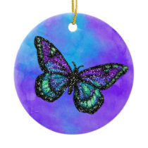 Glittery Butterfly on Watercolor Ceramic Ornament