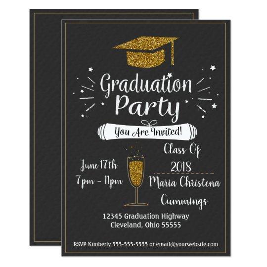 Glittery chalkboard graduation party invitation zazzle glittery chalkboard graduation party invitation filmwisefo